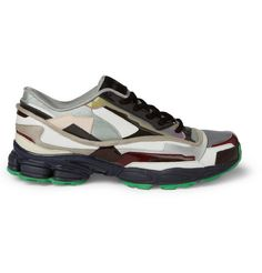 Raf Simons Panelled Patent Leather and Fabric Sneakers