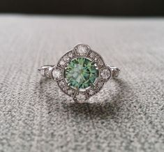 "Estate Halo Blue Green Moissanite Diamond Antique Engagement Ring Victorian Art Deco Mint Edwardian 14K White Gold ""The Charlotte"" by PenelliBelle on Etsy"