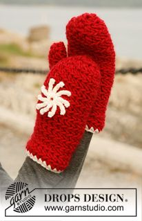 "Set consists of: Crochet DROPS hat and mittens in ""Eskimo"" or ""Andes"" with flower in ""Karisma"". ~ DROPS Design.  FREE PATTERN 11/14."