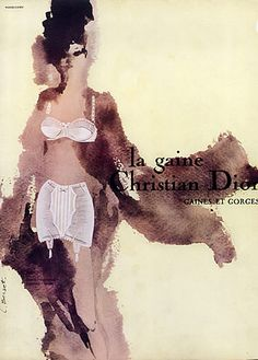 Christian Dior (Lingerie) 1963 Lise Berset, Girdle, Bra Vintage advert Lingerie illustrated by Lise Berset | Hprints.com