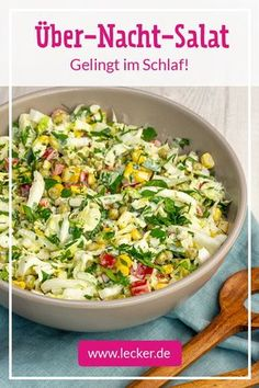 Overnight salad - Healthy Recipes for Everyday! Overnight Salad Recipe, Healthy Dinner Recipes, Vegan Recipes, Summer Recipes, Party Salads, Canned Blueberries, Vegan Scones, Gluten Free Flour Mix, Scones Ingredients