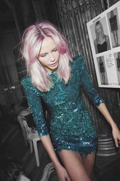 best balmain dress ever. and her hair was not pink for that show so that's some lame photoshopping