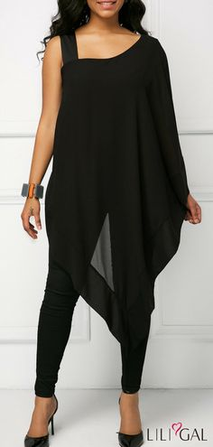 Asymmetric Hem Overlay One Sleeve Black Blouse   #liligal #top #blouse #shirts #tshirt