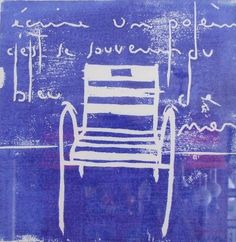 "Saatchi Online Artist: Christophe BERAET; Woodcut, 2011, Printmaking ""Chaises Bleues"""
