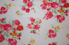 100% Rayon Challis Floral Rose White Red by FabricsUniverse