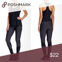 """Race Day Leggings by Zella Leggings by Zella. Super comfortable. Color block panels on legs. These fit long- Elasticized waist - Approx. 7"""" rise. True to size Fiber Content: 88% polyester, 12% spandex. Workout activewear Zella Pants Leggings"""