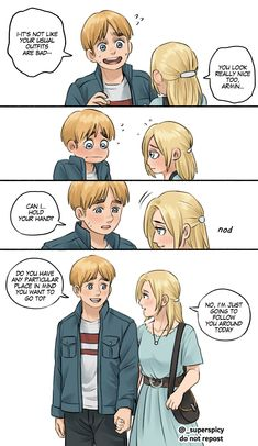 Attack On Titan Comic, Attack On Titan Ships, Attack On Titan Fanart, Armin Snk, V Cute, Eremika, Manga Couple, Short Comics, Anime Kiss