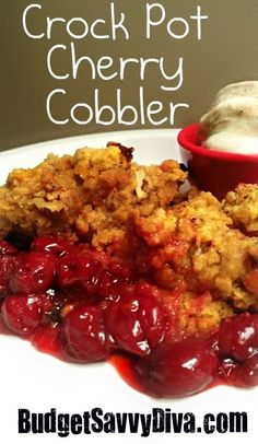 crock pot cherry cobbler    Ingredients  1 can (21 ounces) cherry pie filling  1 package (18 1/4 ounces) yellow cake mix  1/2 cup (1 stick) butter melted  1/3 cup chopped walnuts  1 Tablespoon of Vanilla Extract  Instructions  Place Cherry Filling into your crock pot.  In a medium size bowl mix: cake mix, butter, and vanilla. It becomes like dough