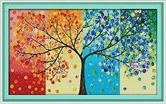 Happy Forever Cross Stitch, scenery, four seasons rich tree