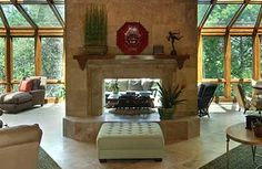 dimensions of two sided fireplace - Google Search