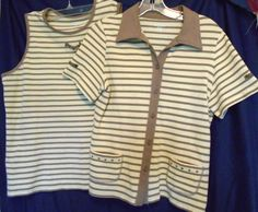 2 Piece Top Allison Daley Size M Yellow Brown Stripe Paquet Tabs & Brads #AllisonDaley #JacketShell #Career
