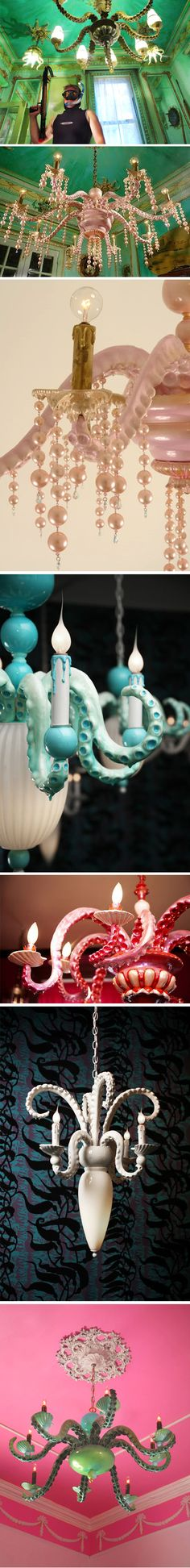 adam wallacavage tentacle chandeliers, pretty and creepy at the same time Home Design, Art Design, Home And Deco, Art Furniture, Tentacle, My New Room, Home Interior, Kitsch, Artsy Fartsy