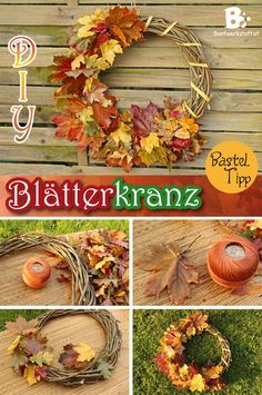 Once I found out how to preserve autumn leaves, I wanted to make some seasonal crafts with it. This colorful autumn wreath is what I came up with: Fall Wreath Tutorial, Diy Fall Wreath, Autumn Wreaths, Fall Diy, Autumn Leaves Craft, Autumn Crafts, Fall Crafts For Kids, Easy Christmas Crafts, Willow Wreath