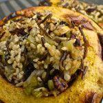Vegan Holiday Stuffed Acorn Squash with Wild Rice, Mushrooms and Cranberries