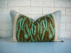 Feather Print Boho Pillow Cover - Burlap Lace Ticking  - Brown Aqua Bohemian Throw - Fall Decor