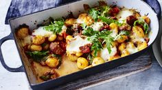Use homemade or shop-bought gnocchi in this quick and easy bake – the texture works amazingly with the sausage and mozzarella Risotto Recipes, Pasta Recipes, Cooking Recipes, Veggie Recipes, Vegetarian Recipes, Healthy Recipes, Healthy Dinners, Clean Recipes, Midweek Meals