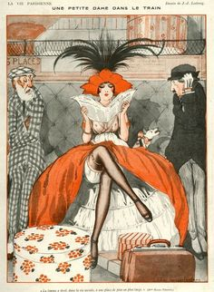 La Vie Parisienne, Illustration by Julien Jacques Leclerc. Two older gentleman gaze at the younger woman reading. The lady& dog takes offense and barks at the gentleman to the lady& left. Art And Illustration, Illustrations Posters, Posters Vintage, Retro Poster, Art Deco Posters, Vintage Artwork, Cover Art, Arte Art Deco, Art Nouveau