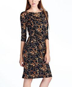 This Dark Brown Geometric Sheath Dress is perfect! #zulilyfinds
