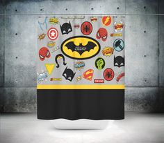 Personalized Shower Curtain Comic Book Design Super Hero Theme
