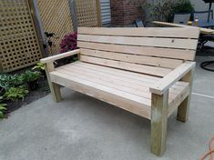 Take a look at this stylish photo - what a creative theme Wood Bench Plans, 2x4 Bench, Diy Wood Bench, Patio Bench, Rustic Bench, Diy Patio, Outdoor Furniture Bench, Homemade Outdoor Furniture, Homemade Bench