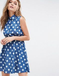 Blue spot shirtdress