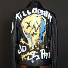 """Interesting. Domingo Zapata x Superdry Original Painted """"Till Death Do Us Part"""" Men's Leather Jacket Acrylic on Leather"""