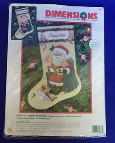 SANTA & ANGELS Stocking Crewel Embroidery Kit Morehead Christmas Dimensions NIP #Dimensions #Crewel