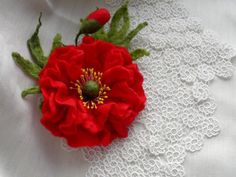 Felt flower brooch/ red Poppy /Wool Felt Jewelry/ gift by Marywool, $25.00