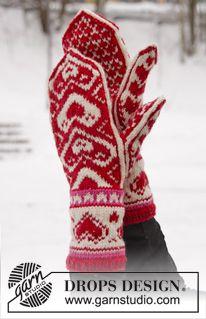 """DROPS Valentinstag: Gestrickte DROPS Handschuhe in """"Merino Extra Fine"""" mit Herzen. ~ DROPS Design"""