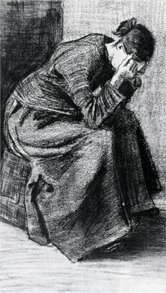Woman Sitting on a Basket with Head in Hands - Vincent van Gogh - 1883