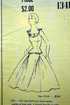 vintage Modes Royale sewing pattern 1341 fitted torso dress size 16 uncut