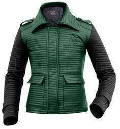 Leather Skin Women Green Rib Quilted Genuine Leather Jacket with Black Sleeves Green Leather Jackets, Long Leather Coat, Leather Jacket With Hood, Leather Skin, Jackets For Women, Clothes For Women, Women's Jackets, Jackets Online, Quilted Leather