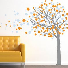 Grey and orange tree blossoms for girls room but in different colors