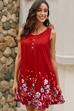 Red Crew Neck A-Line Daily Beach Floral Dress – Sampeel Cheap Elegant Dresses, Cheap Dresses, Day Dresses, Casual Dresses, Summer Dresses, Floral Dresses, Simple Dresses, Pyjamas, Online Dress Shopping