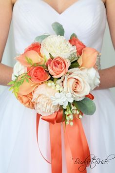 Wildflower Brides Bouquet coral white coral reef peach ivory lily of the valley fake artificial wedding wedding flowers