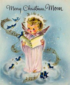 Merry Christmas Mom ~ angel and birds Christmas Mom, Christmas Scenes, Retro Christmas, Christmas Angels, Vintage Greeting Cards, Christmas Greeting Cards, Christmas Greetings, Vintage Postcards, Vintage Christmas Images