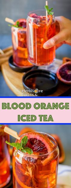 Herbivore Cucina: Blood Orange Iced Tea...Homemade Blood Orange syrup makes this Iced Tea full of flavor and super yum! Make yours while the fruit is still in season! #drinks #bloodorange #icedteas #spring #summer #beverages Orange Tea, Orange Drinks, Blood Orange, Party Drinks, Fun Drinks, Cocktail Drinks, Yummy Drinks, Cocktails, Alcoholic Iced Tea