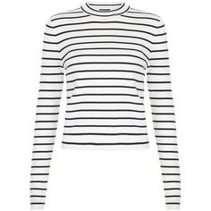 Blue Stripe Funnel Neck Jumper ($26) ❤ liked on Polyvore featuring tops, sweaters, long sleeves, shirts, blue striped shirt, stripe shirt, white shirt, white long sleeve sweater and print shirts