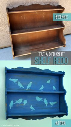 """Put a Bird on It"" Shelf Redo | Club Chica Circle - where crafty is contagious #decoartprojects #chalkyfinish #garagesalefind"
