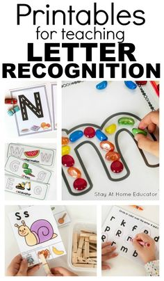 Letter recognition is one of the most important skills children can gain. These tips explain how to encourage letter recognition as well as its importance. Writing Activities For Preschoolers, Alphabet Activities, Time Activities, Alphabet Crafts, Preschool Literacy Activities, Letter Sound Activities, Free Preschool, Preschool Printables, Preschool Ideas