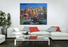 """Manarola"" (Peinture),  60x48x1,5 in par Viv ""Manarola"" dans son décor iartview, en souvenir d'un village de Cinque terre."