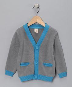 Blue & Gray Organic Cardigan - Infant, Toddler & Boys