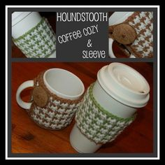 2 Crochet Pattern Houndstooth Coffee Cozy by ACrochetedSimplicity, $3.50