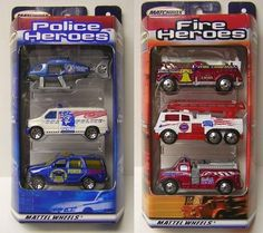 Matchbox Police and Fire Heroes This item was manufactured shortly after 9/11/2001 by Mattel. $9.95. This item was manufactured shortly after September 11, 2001.. 3 Fire Heroes vehicles and 3 Police Heroes vehicles.