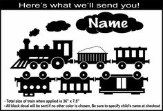Personalized Vinyl Toy Train Wall Decal for boys room - 3ft Long