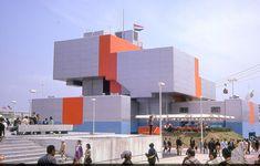 "germanpostwarmodern: ""Pavilion of the Netherlands on Expo 1970 in Osaka, Japan, by Jaap Bakema & Carel Weeber "" Rem Koolhaas, Zaha Hadid, Expo 67 Montreal, Photo Expo, 70s Sci Fi Art, Pavilion Design, Unique Buildings, Osaka Japan, Unique Architecture"