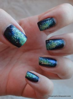 Blue Galaxy Nail Art