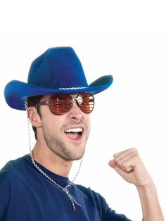 b91c927d Check out Deluxe Blue Cowboy Hat - 2018 Costume Accessories   Costume  SuperCenter from Costume Super