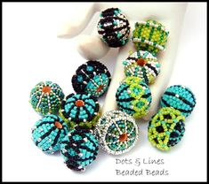 Beaded Bead Tutorial - Dots & Lines Design Suite - peyote stitch instant download