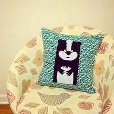 Honey badger badass pillow made with lots of love  #hoplagogosses #pillowcase #pillow #applique #honeybadger #honeybadgerdontcare #honeybadgerdontgiveashit #bluepillow #turquoise #animalpillow #faitauquebec #montreal #handmade #handmadewithlove #like4like #likeforlike #sendlove #montrealartisan #craftporn